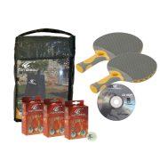 Cornilleau | Kültéri pingpong kiegészítő szett (takaróponyva, 2 db sport kültéri pingpong ütő, 3x6 db expert pingpong labda)
