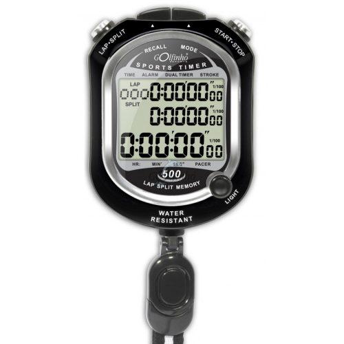 Stopperóra 500 memóriával (uszodai használatra alkalmas stopper, 30 m-ig vízálló, lítium elemmel működik)