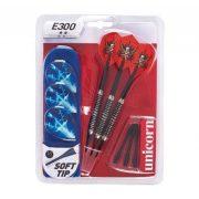 Unicorn E300 18 gr. súlyú dartsnyíl szett nikkel bevonatos fogórésszel , tárolódobozzal, csere tollakkal 3 db/szett soft heggyel
