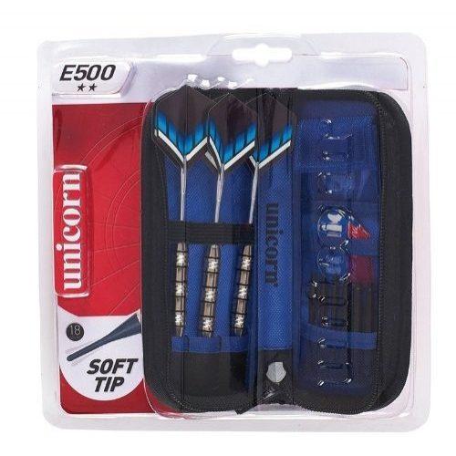 Unicorn E500 18 gr. súlyú kétcsillagos  dartsnyíl szett nikkel bevonatos fogó résszel , cipzáros tárolótokkal, csere tollakkal 3 db/szett soft heggyel, különböző shaftokkal
