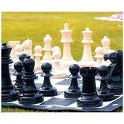 Capetan® Family   Kültéri sakk készlet sakktáblával (időjárásálló ABS műanyag, 92x92cm vinyl sakktábla felület, hordfüles dobozban, 21 cm király sakkbábú méret)