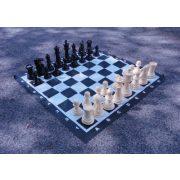 Capetan® Family | Kültéri sakk készlet sakktáblával (időjárásálló ABS műanyag, 92x92cm vinyl sakktábla felület, hordfüles dobozban, 21 cm király sakkbábú méret)