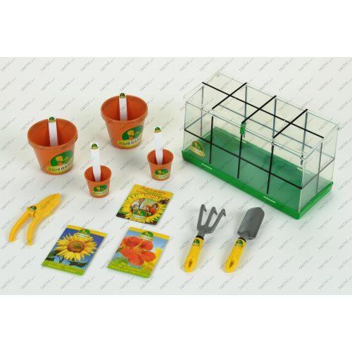 Üvegház szett valódi magokkal + kiegészítőkkel, kis-kertész sorozat