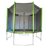 Capetan® Modern Fly  | Trambulin védőhálóval (305 cm átmérő, íves, borulás elleni lábakkal szerelt kültéri trambulin PVC hálótartó oszlopburkolattal, extra magas hálóval és ugrálófelülettel)