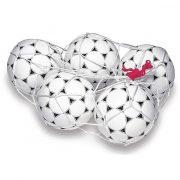 Labdatartó hurkolt fehér háló (18 labdához, színes behúzó zsinórral)