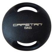 Capetan® Professional Line | Medicinlabda (6kg) (kétfogantyús - dual grip gumi, vízen úszó medicinlabda)