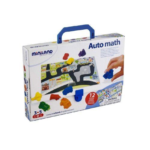 Járműves matekos játék (Miniland, 27383, logikai játék, 3-5 év)