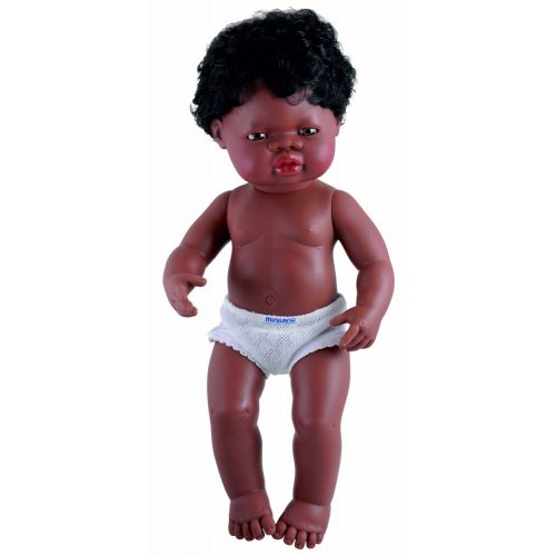 Afrikai fiú karakterű fiú hajasbaba (38 cm), Miniland
