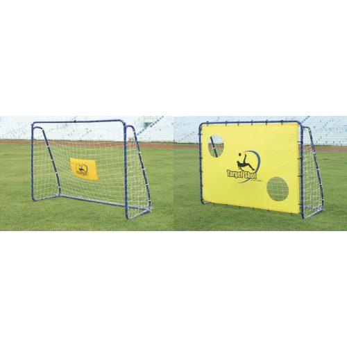 """""""Target"""" futball kapu célzófallal (egy darab 213 x 152 x 76 cm, fém, mobil, elemeire szedhető, 3,8cm csövekből összeállítható)"""