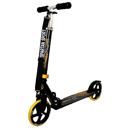 Gigant Wheel | Óriás kerekű roller (alu roller óriás sárga 200x34mm kerekekkel - gyermek / felnőtt roller állítható oszlop, fekete markolat)