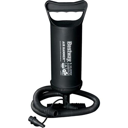 Talpas kemping mini pumpa (30 cm, fekete, 0,85 L kapacitás/löket, oda vissza fúvás, 3 adapter)