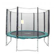 Capetan® Olive | Kültéri trambulin szett védőhálóval (305cm, 4W lábbal 8 hálótartó oszloppal rendelkező kültéri luxus trambulin szett védőhálóval, 160Kg teherbírással, 64db rugóval - A megnövelt számú láb és rugó miatt  a legstabilabb trambulin)