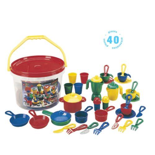 Konyhai készlet 34 db-os, szerepjáték gyerekeknek, nagy füles tárolódobozzal