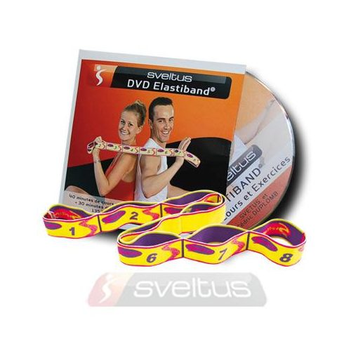 Elastiband fitnesz erősítő gumipánt + DVD,  10 kg-os közepes ellenállás, 80x4 cm