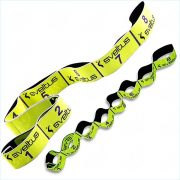 Elastiband® fitnesz erősítő gumipánt közepes erősség, 8x10 cm levarrt szakasz, sárga, 10 kg ellenállás, közepes 80x4 cm