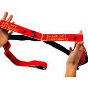 Elastiband® fitnesz erősítő gumipánt Maxi hosszú,  piros színű, 10 kg közepes ellenállás,  110x4 cm, 5 db 22 cm szakasz