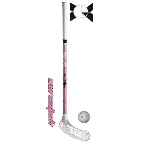Floorball ütő (grippes junior teremhoki ütő, Splash 80/91 cm, jobbra ívelt fejjel, pink színben)