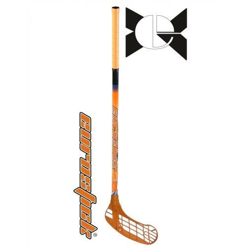Force One Orange   Floorball ütő (floorball grippes egyedi senior űtő, 95/106 cm nyél és jobbra ívelő fej