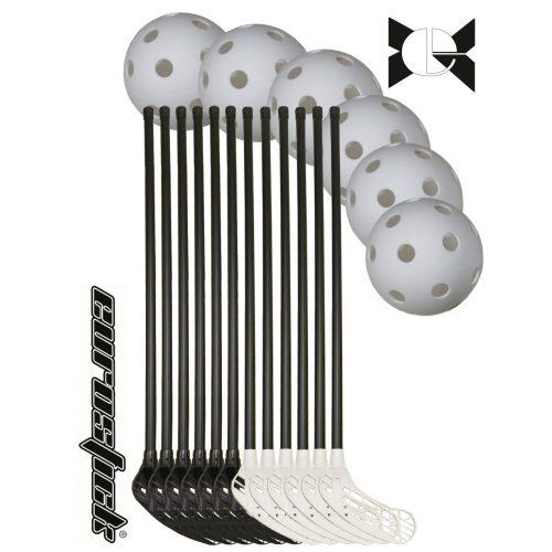 Eurostic Master | Floorball készlet senior (svéd senior szett, 18 részes , az ütők ívelt konkáv fekete/fehér színű fejjel fekete nyéllel , 12 db 95/106 cm ütő 6 db labdával)