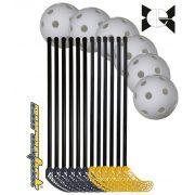 Floorball készlet, iskolai (svéd iskolai 18 részes karbon készlet, Beta, 95/107 cm síma felületű 12 ütő 6 labda)