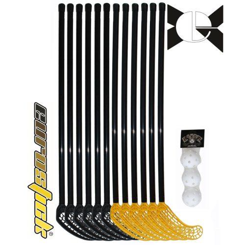 Floorball szett, iskolai (svéd, ABS 15 részes szett Alpha , 95/107 cm flexibilis nyél)