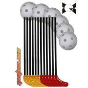 Street Poppis | Floorball iskolai szett (18 részes, műanyag,  95/108 cm nyéllel, kül és beltéri használatra , gyakorló floorball készlet 12 ütő 6 db labdával)