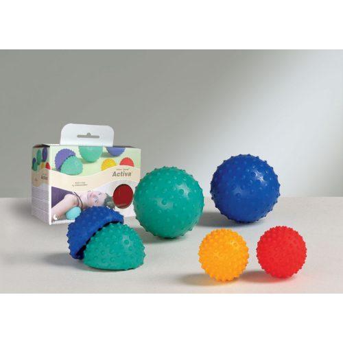 Activa Ball masszázslabda,  erős masszázs, 1db piros/1db sárga szett, 9-12 cm