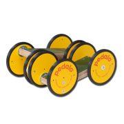 Wawago-Pedalo, gördülő fa roller, le-fel- változó szögben mozgó pedálokkal