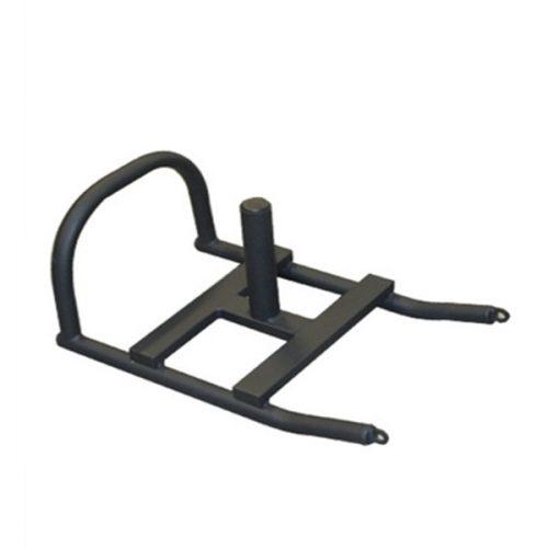 Crossfit súlyszánkó súlytárcsa tartó rúddal (100cm hosszú x65 cm tolókarral pórszórt fekete színben, robbanékonyság fejlesztésére, húzó kötél  tartozék)
