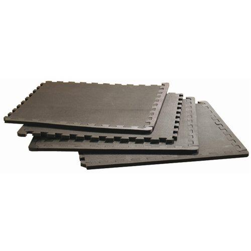 Capetan® | Tatami szőnyeg, padlóvédő szett (4db 60x60x1cm puzzle szőnyeg összekapcsolható elemekkel, fekete színben)