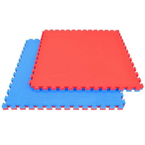 Capetan® Floor Line | Tatami szőnyeg, sportpadló (100x100x4cm, védőszegéllyel ellátott puzzle szőnyeg, piros/kék színben)