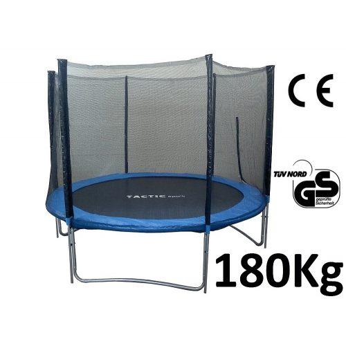 TacticSport Fly High   Kültéri trambulin (305 cm, 66 db megnövelt rugószámmal, extra vastag 2,5cm rugótakaró peremmel, védőhálóval, 180 kg teherbírással)