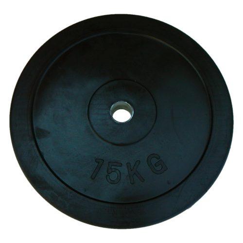 Capetan® | Gumírozott súlytárcsa (15 kg standard tárcsasúly 31mm lukátmérővel, acél gyűrűvel a közepén)