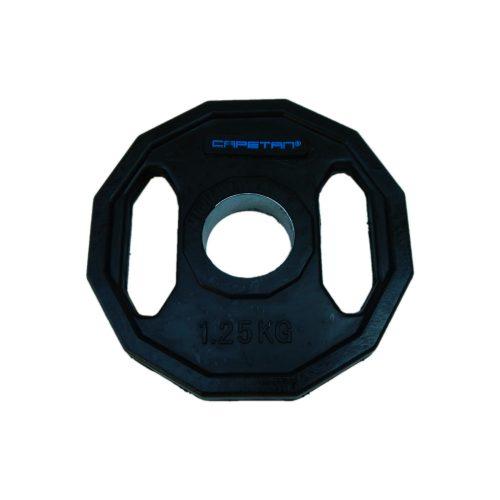 Capetan® | Olympiai gumival bevont súlytárcsa (1,25kg tárcsasúly, szögletes gurulásgátló peremmel, 51mm lukátmérővel)
