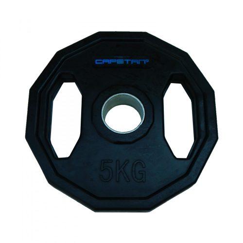 Capetan® | Olympiai gumival bevont súlytárcsa (5kg tárcsasúly, szögletes gurulásgátló peremmel, 51mm lukátmérővel)