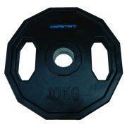 Capetan® | Olympiai gumival bevont súlytárcsa (10kg tárcsasúly, szögletes gurulásgátló peremmel, 51mm lukátmérővel)