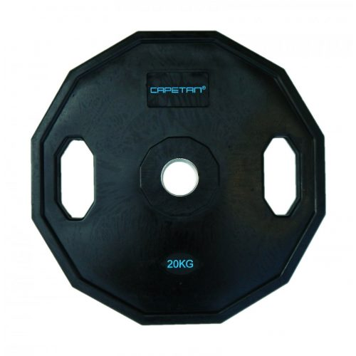 Capetan®   Olympiai gumival bevont súlytárcsa (20kg tárcsasúly, szögletes gurulásgátló peremmel, 51mm lukátmérővel)