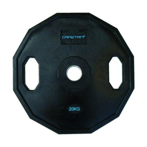Capetan® | Olympiai gumival bevont súlytárcsa (20kg tárcsasúly, szögletes gurulásgátló peremmel, 51mm lukátmérővel)