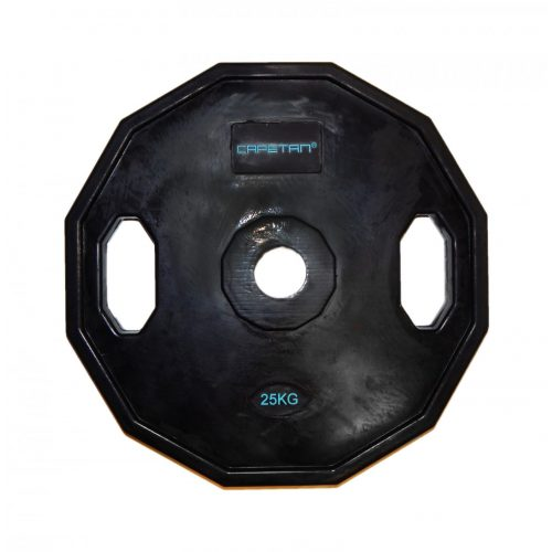 Capetan® | Olympiai gumival bevont súlytárcsa (25kg tárcsasúly, szögletes gurulásgátló peremmel, 51mm lukátmérővel)