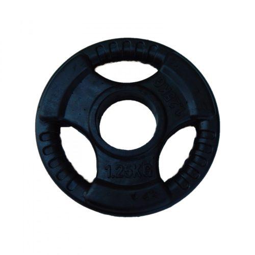 Capetan® Professionl Line | Gumírozott acél súlytárcsa (Olympic Tri Grip gumival bevont 1,25Kg acél tárcsasúly - 51mm lukátmérővel, fogantyúkkal)