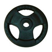 Capetan® Professionl Line | Gumírozott acél súlytárcsa (Olympic Tri Grip gumival bevont 15Kg acél tárcsasúly - 51mm lukátmérővel, fogantyúkkal)