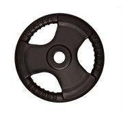 Capetan® Professionl Line | Gumírozott acél súlytárcsa (Olympic Tri Grip gumival bevont 20Kg acél tárcsasúly - 51mm lukátmérővel, fogantyúkkal)