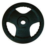 Capetan® Professionl Line | Gumírozott acél súlytárcsa (Olympic Tri Grip gumival bevont 25Kg acél tárcsasúly - 51mm lukátmérővel, fogantyúkkal)