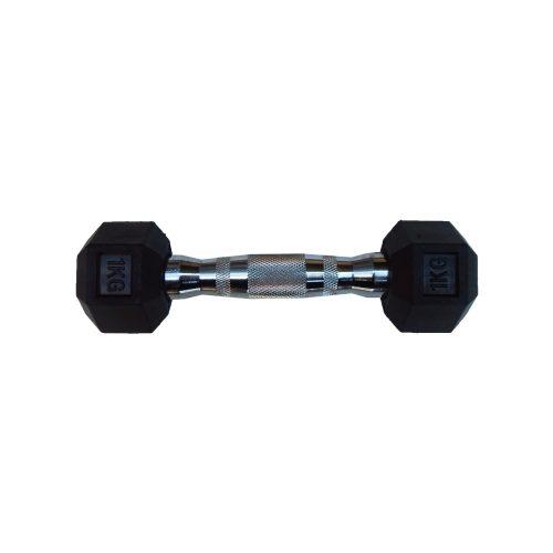 Capetan® Professional Line | Kézisúlyzó (1kg, egykezes edzőtermi gumírozott kézi súlyzó gumírozott fejvégekkel,chromozott markolattal, hexagon gumírozott kézisúlyzó)