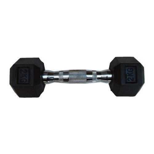 Capetan® Professional Line   Kézisúlyzó (2kg, egykezes edzőtermi gumírozott kézi súlyzó gumírozott fejvégekkel,chromozott markolattal, hexagon gumírozott kézisúlyzó)