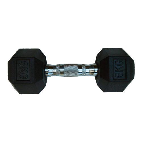 Capetan® Professional Line | Kézisúlyzó (6kg, egykezes edzőtermi gumírozott kézi súlyzó gumírozott fejvégekkel,chromozott markolattal, hexagon gumírozott kézisúlyzó)