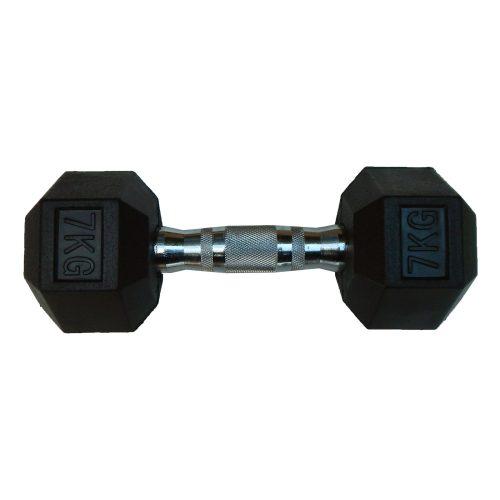Capetan® Professional Line | Kézisúlyzó (7kg, egykezes edzőtermi gumírozott kézi súlyzó gumírozott fejvégekkel,chromozott markolattal, hexagon gumírozott kézisúlyzó)