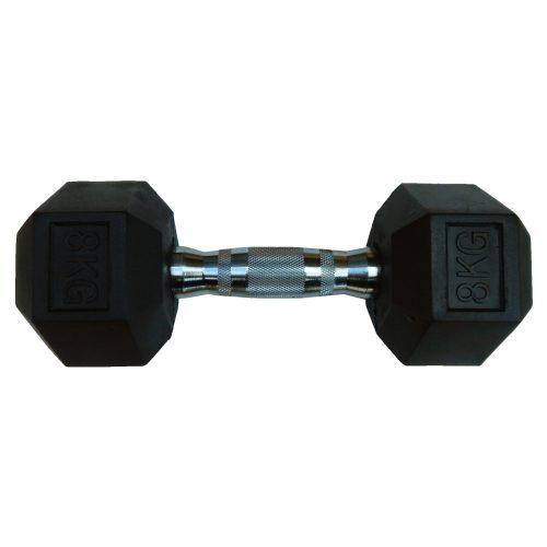 Capetan® Professional Line | Kézisúlyzó (8kg, egykezes edzőtermi gumírozott kézi súlyzó gumírozott fejvégekkel,chromozott markolattal, hexagon gumírozott kézisúlyzó)