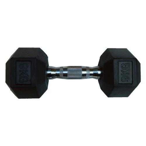 Capetan® Professional Line | Kézisúlyzó (9kg, egykezes edzőtermi gumírozott kézi súlyzó gumírozott fejvégekkel,chromozott markolattal, hexagon gumírozott kézisúlyzó)