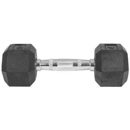 Capetan® Professional Line | Kézisúlyzó (10kg, egykezes edzőtermi gumírozott kézi súlyzó gumírozott fejvégekkel,chromozott markolattal, hexagon gumírozott kézisúlyzó)